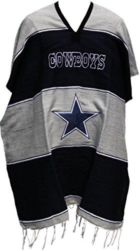 [Football Team Serape Poncho Adult Size (Dallas Cowboys (Grey / Blue))] (Dallas Cowboy Costumes)