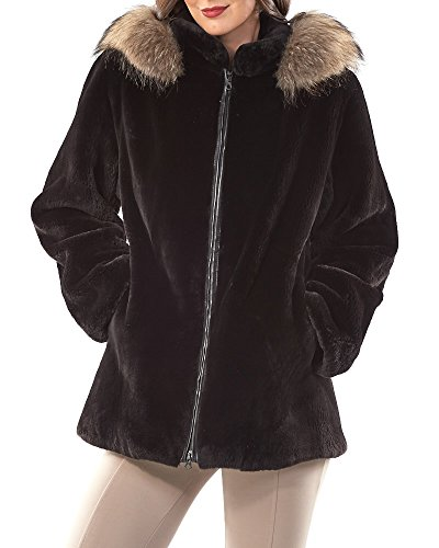 Cocoa Dyed Sheared Beaver Jacket With Finn Raccoon Trim - X-Large (Beaver Sheared Dyed)