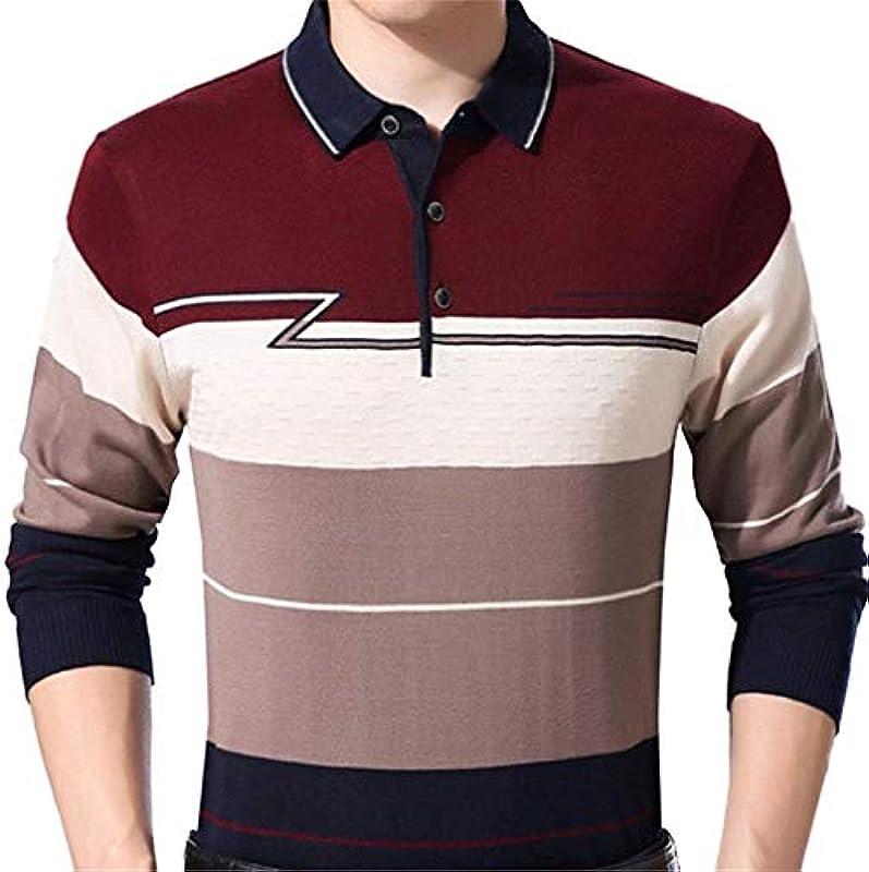 Męski casual długi rękaw sweter Neck Crew Knit paski sweter prosty styl bluza wiosna jesień długi rękaw revers gÓrne części topy: Odzież