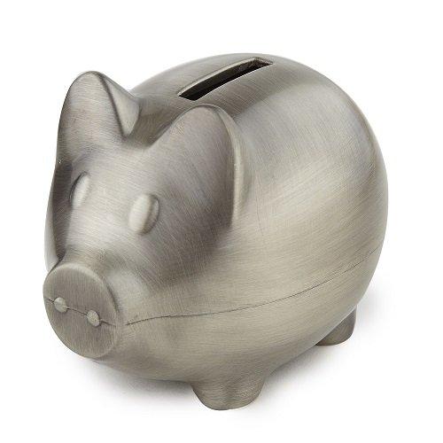 Heim Concept 80035 Elegance Piggy Bank Pewter Finish Plain, Silver