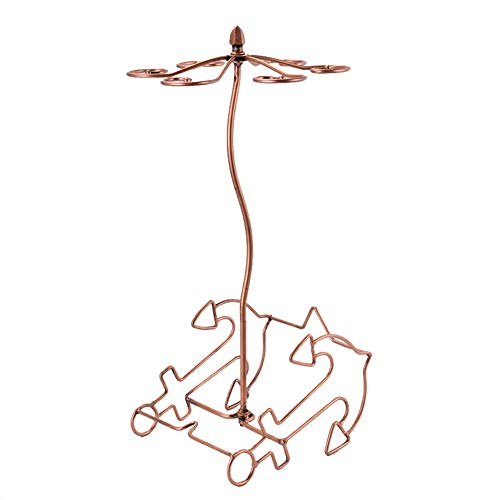 (CDZJP Goblet Wine Rack, Upside Down Hanging Goblet Rack, Wrought Iron Twisted Red Stemware Wine Rack,6 Goblet Upside Down Hanging Rack)