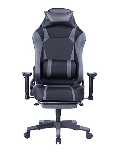VON Racer Big and Tall Gaming Chair with Footrest- Adjustable Tilt, Back Angle and 2D Arms Ergonomic High Back Racing Leather Executive Computer Chair, Detachable Headrest Lumbar Support, Grey - Angle Office Chair