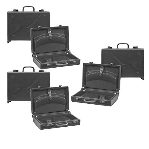 Set of 3 Black Plastic Toy Miniature Briefcases for WWE Wrestling Action Figures (1.5 Inches Tall) (Briefcase Toy)