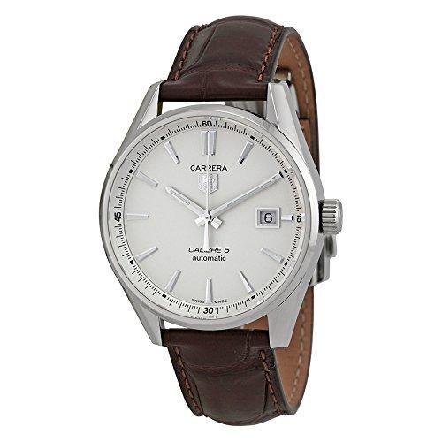 WAR211BFC6181 automático Piel Carrera Plata Hombre Marrón Reloj Esfera: Amazon.es: Relojes