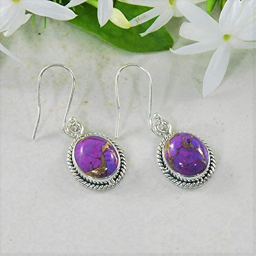 (Sivalya 3.00 Ct Oval Natural Purple Turquoise Earrings in 925 Oxidized Sterling Silver, Genuine Gemstone Solid Silver French Hook Dangle Earrings)