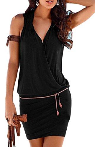 Jaycargogo Femmes Mode Sexy V-cou Robe Moulante Wrap Couleur Unie Sans Manches Noir