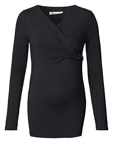 Queen Mum - Camiseta de manga larga - vestido - Manga Larga - para mujer Schwarz (Black)