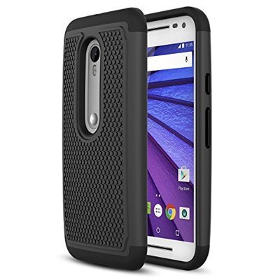 Motorola Moto G 3 (2015 3rd gen) Phone Case - MoKo [Anti Drop] Hard Polycarbonate + Silicone Protector Bumper Case for Moto G 3rd Gen Smartphone, BLACK (Not for Moto G Previous Generations)