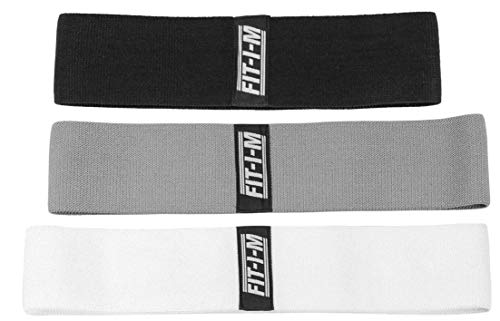 Band M - FIT-I-M Fabric Exercise Resistance Bands for Legs, Butt, Hip, Glute Workout. Hip Band Set of 3 for Booty Strength and Stretching