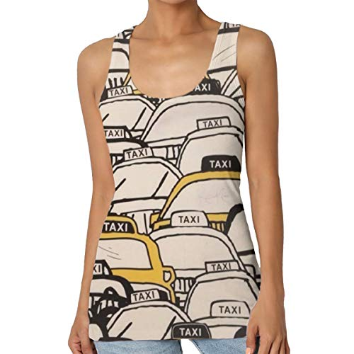 Women's Crowded Street Taxi Women's Soft Jersey Scoop Neck Sleeveless Tank Top Classic Raceback Shirts Black ()