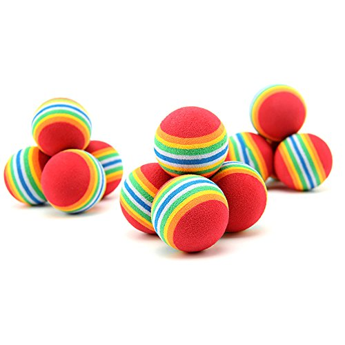 NUOMI 12pcs Sponge Ball Cat Toy Soft Foam Rainbow Play Balls Interactive Kittens Pet Toys ()