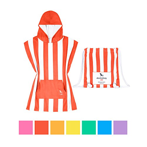 Dock & Bay Kids Hooded Poncho Swim Towel - Waikiki Coral Red, Kids (4-7 Years)- Child Bath Robe Poncho Includes Drawstring Bag