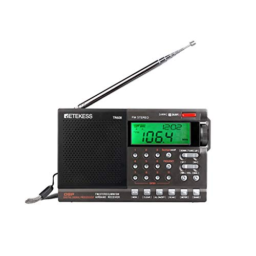 Retekess TR608 Shortwave Radio with Best Reception, Portable Radio Battery Operated, Digital Radio with DSP Chip and Air Band for Traveller(Black)