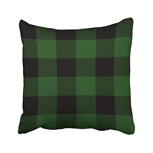 SPXUBZ Rustic Green and Black Buffalo Check Plaid Cotton Throw Pillow Cover Home Decor Nice Gift Indoor Pillowcase Standar Size (Two Sides)