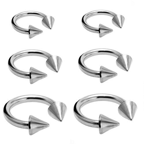 Joybeauty 6mm 10mm 14mm Unisex Stainless Steel Spike Horseshoe Hoop Ear Cartilage Helix Septum Circular Barbells Earrings 16G Pack of 6 Pcs (Steel) (Spike Earring Hoop)