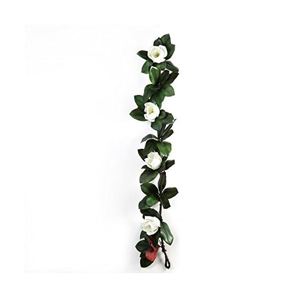 LI HUA CAT 3D Reality Magnolia Flower Artificial Vine 4 Big Heads Plastic Material Fake Flower Vine Hanging Decoration Wall Decor Make Wreath DIY use (3D Reality Magnolia)