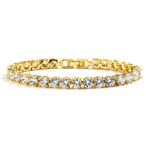 - Mariell Glamorous 14K Gold Plated CZ Bridal Tennis Bracelet -Petite 6 1/2
