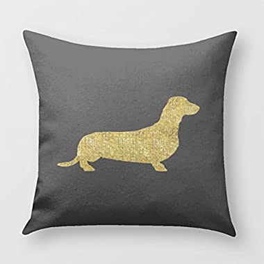 Dachshund Gold Sequin Stripes Pillow Cover for Sofa or Bedroom