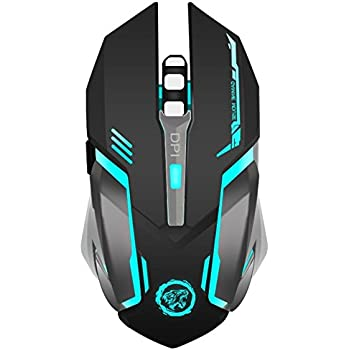 TENMOS X96 Wireless Rechargeable Gaming Mouse USB Optical LED Silent Computer Mouse for MAC/PC/Notebook, 3 Adjustable DPI, 6 buttons (black)