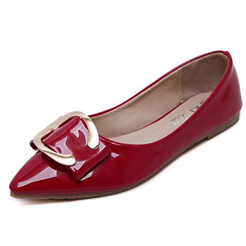 T-JULY Womens Flats Shoes Casual Pointed Toe Soft Ballet Comfort Slip On Red maM6Cs