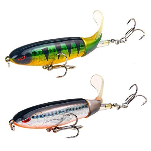GUFIKY 2-Pack Whopper Plopper Bass Lure 4.0 inch/0.5 oz with Rotating Spins Tail for Trout ,Walleye,Pike and Musky Topwater Floating Fishing Lures with Barb Treble Hooks