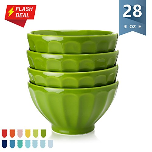 Sweese Porcelain Fluted Latte Bowl Set - 28 Ounce Stable and Deep - Microwavable Bowls for Cereal, Soup - Set of 4, Olive Drab - Olive Drab Color