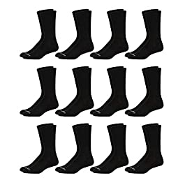 AND1 Men's Athletic Arch Compression Cushion Comfort Crew Socks (12 Pack)