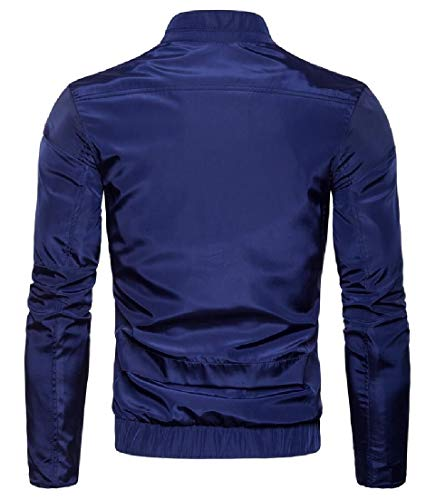 Sleeve Collar Lightweight Windbreaker Stand Front Long Zip Blue Navy Men's Jacket EKU OHwUtt