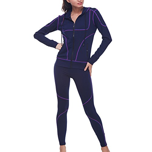 BELLEZIVA Women's Yoga Three Pieces Long Sleeve Zip up Pullover Tank Tracksuits S Royal
