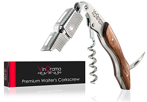 VinOrama Waiters Corkscrew Rosewood 3-in-1 Wine Opener, Beer Bottle Opener and Foil Cutter, The Best Choice of Professional Waiters and Bartenders Around the (Wine Bottle Waiters Corkscrew)