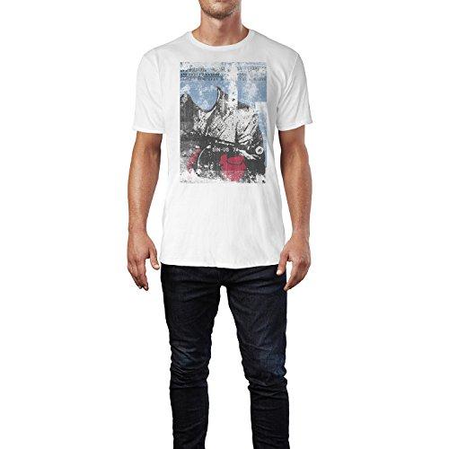 SINUS ART® Bogart Herren T-Shirts stilvolles weißes Fun Shirt mit tollen Aufdruck
