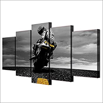 JESC 5 Piece Canvas Art Motorcycle Poster Painting Framed Wall Art Canvas Wall Pictures for Living Room Modular Pictures