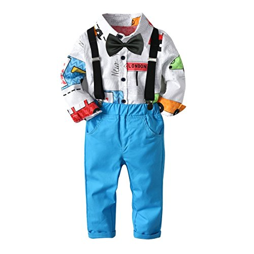 Baby Boys Fashion Gentleman Pants Clothing Set Long Sleeves Shirt+Suspender Colorful Pants+Bow Tie Toddler 4Pcs Set (Car+Blue, 2-3T/90) -