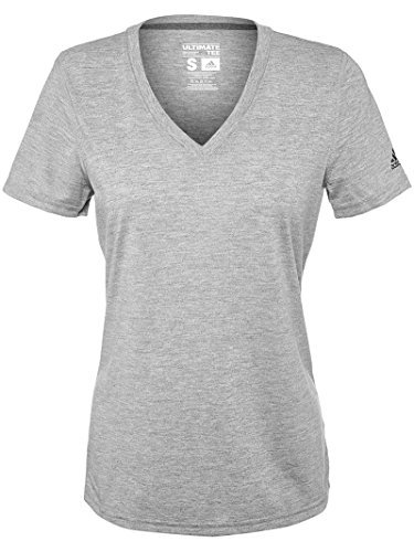 adidas Women's Ultimate Short Sleeve V-Neck Medium Grey Heather T-Shirt - V-neck Tee Ultimate