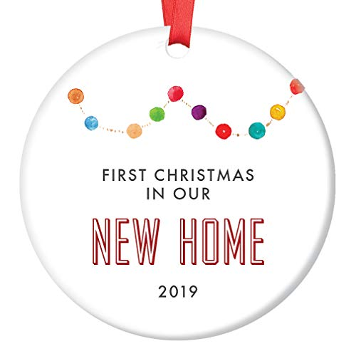 First Christmas New Home 2019 Ornament 1st Time Homeowners Family Neighbor Friends Housewarming Present Festive Colorful Real Estate Agent Client Keepsake 3 Flat Ceramic w Red Ribbon & Free Gift Box