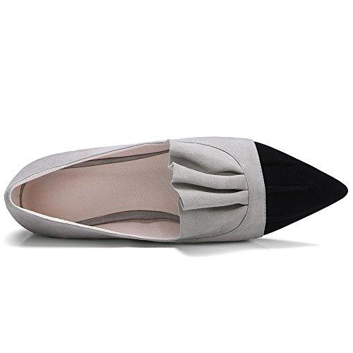 Nine Seven Cuero Moda Puntiagudos Bailarinas Planos Cómodos para Mujer gris