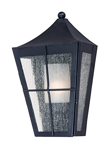Maxim 85336CDFTBK Revere 1-Light Outdoor Wall Lantern, Black Finish, Seedy/Frosted Glass, GU24 Fluorescent Fluorescent Bulb , 26W Max., Wet Safety Rating, 2700K Color Temp, Glass Shade Material, 1760 Rated Lumens