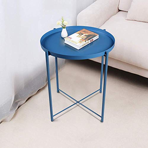 Round Side Table - 20'' Small Metal Reversible Tray End Table, Modern Steel Patio/Garden/Sofa/Coffee/Snack/Bed Tables Nightstand for Living Room Bedroom Decor Indoor Outdoor (Blue) ()