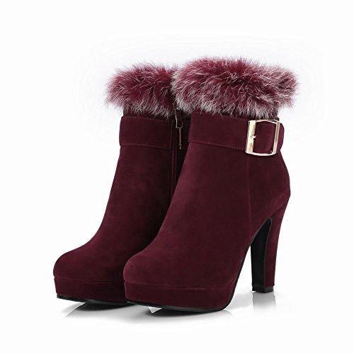 Mee Shoes Damen Plateau Nubukleder hocher Absatz Stiefel Weinrot