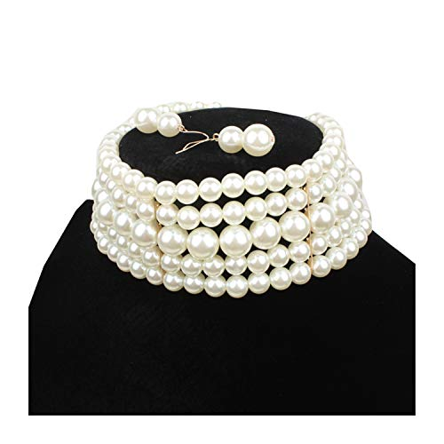 Ufraky Women Elegant Multi Strand Simulated Pearl Choker Necklaces and Earring Set (White) -
