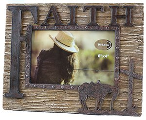 Western style FAITH picture frame with cross and bowing horse ()