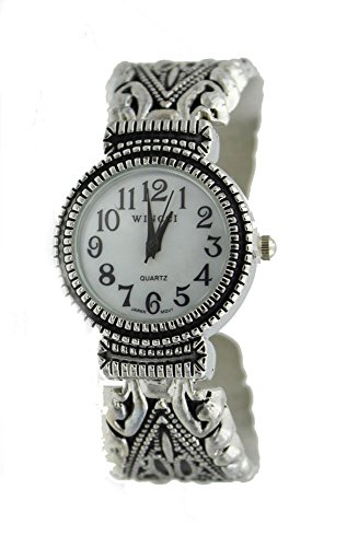 Women's Vintage Style Easy Read Bangle cuff Watch-Silver Tone
