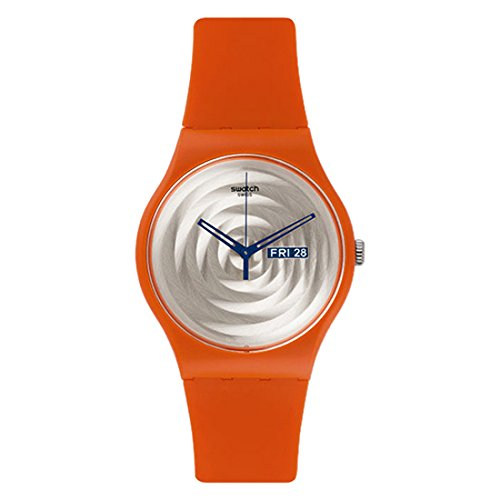 Swatch SUOO702 Multi Bross Silver Day Date Dial Orange Silicone Unisex Watch - Orange Swatch