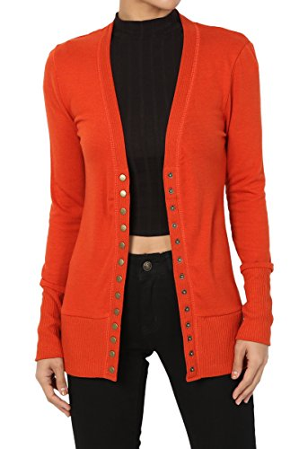 TheMogan Women's Snap Button V-Neck Long Sleeve Knit