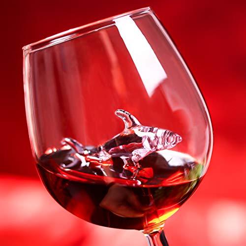 JGLASSMALL 2 Packs Shark Wine Glass Goblets - Fun Novelty Bar Gift for Wine Lovers Fancy Party Glasses