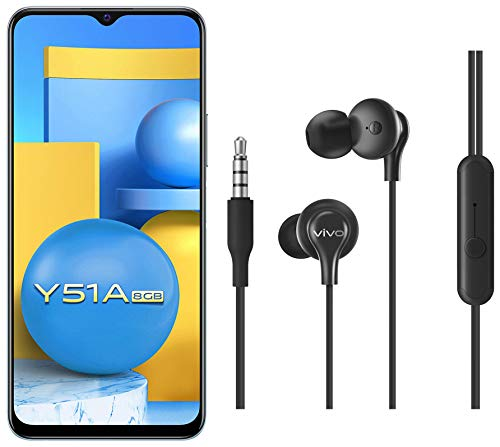 Vivo Y51A (Crystal Symphony, 8GB RAM, 128GB RAB) + vivo Color Wired Earphones with Mic and 3.5mm Jack (Black)