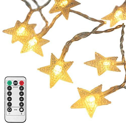 - LEAZEAL Indoor Outdoor Fairy String Lights Battery Operated with Remote,16ft/5m 50 LED Star Lights for Bedroom/Wedding/Party/Christmas (Warm White)
