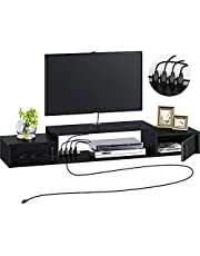 """Rolanstar Wall Mounted Media Console with Power Outlet 47""""/55"""", Rustic Floating TV Stand Component Shelf with Door, Entertainment Storage Shelf for Living Room, Rustic Brown/Black"""