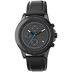 "ZERONE Crossover Hiroaki Masuda ""Moment"" IP Black Chronograph Leather Strap Watch"