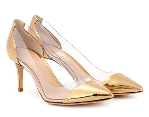 High Court Heels Party Pumps 80mm Dress Toe Shoes Wedding Pointed Women's Gold Ubeauty Transparent YqwR5R